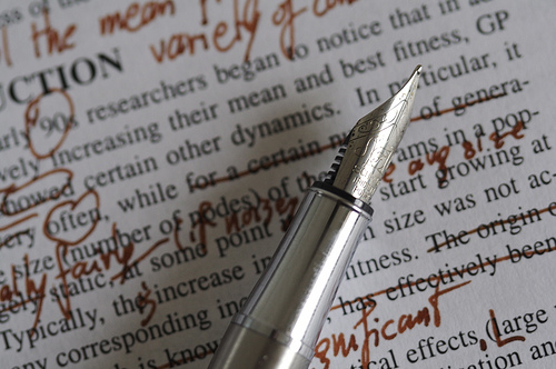 Editing a piece of printed writing