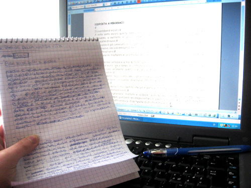 Writing from handwritten pages onto a computer