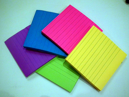 Novel planning - using lined coloured post-it notes.