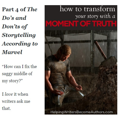 "Image shows the start of a blog post, with title text: ""Part 4 of The Do's and Don'ts of Storytelling According to Marvel"" and introduction: "" 'How can I fix the saggy middle of my story?' I love it when writers ask me that."""