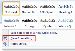 how to clear word formatting