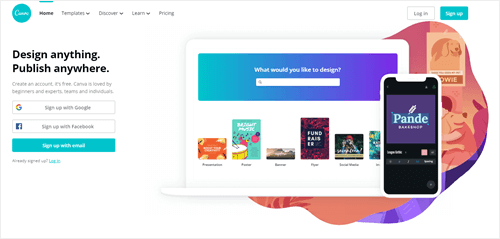 The Canva website for their design/publishing software.