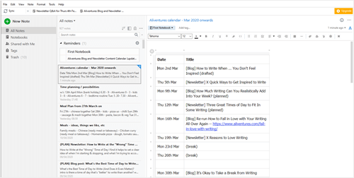 An example of Evernote in use, showing the blog post calendar for Aliventures during March