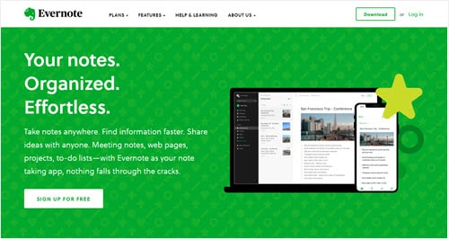The Evernote website