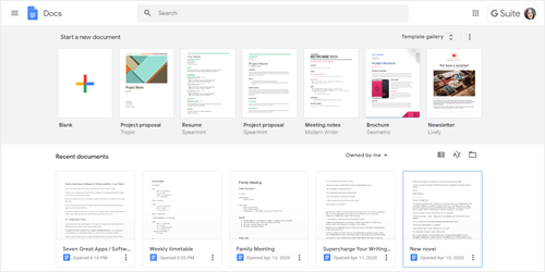 A screenshot of Google Docs in use, showing template options plus recent documents