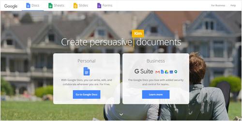 The Google Docs website